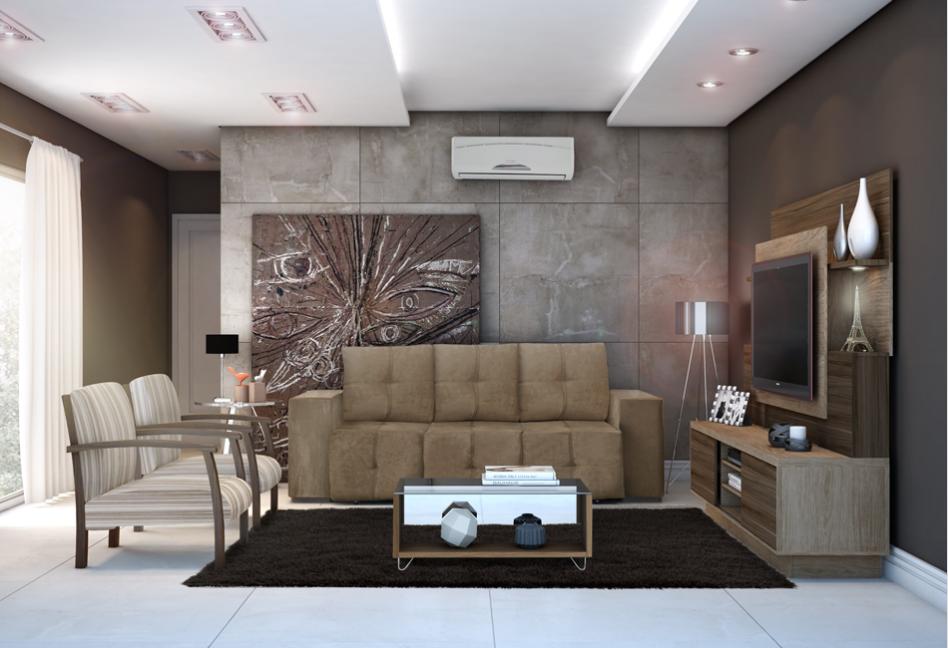 Conjunto para Sala de Estar com Sofá, Estante, Tapete, Mesa de Centro e Ar Condicionado