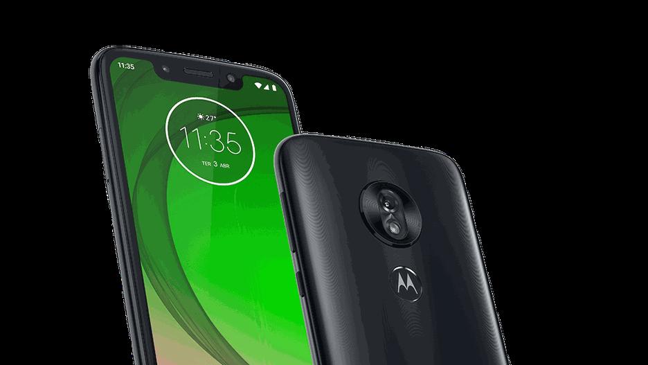 Foto da frente e traseira Moto G7 Play