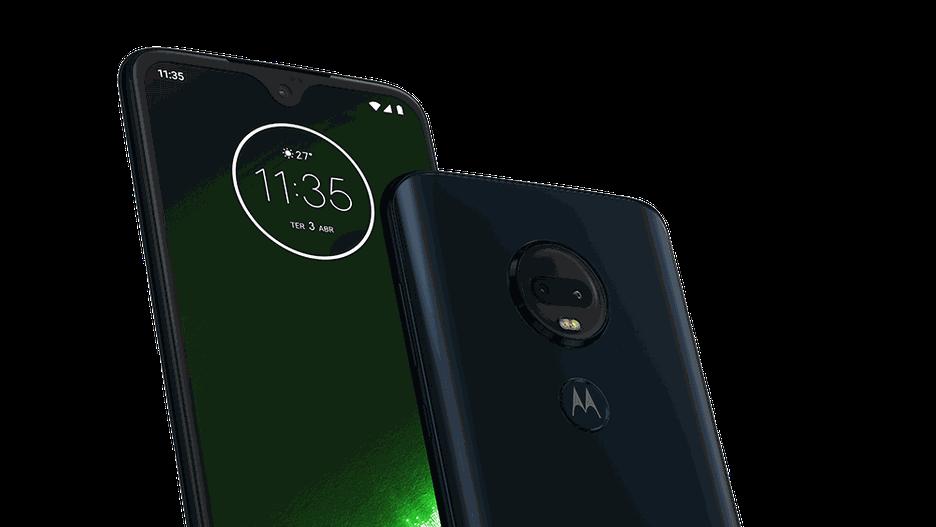 Foto da frente e traseira Moto G7 Plus