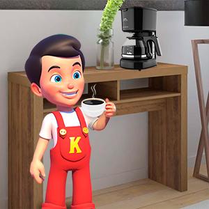 Kerito segurando uma xicara de café