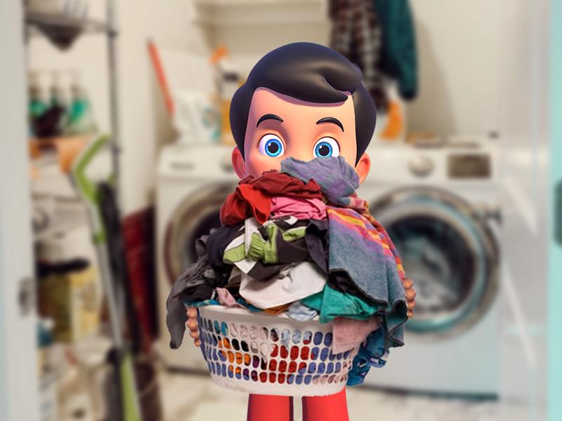 Kerito com cesto de roupas na lavanderia