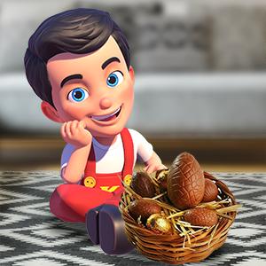 kerito sentado com ovo de páscoa